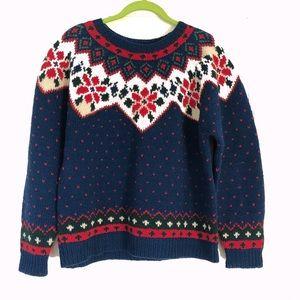 Vintage poinsettias Xmas ugly sweater Sz M